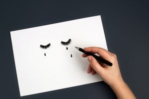 Female hands drawing teardrop on face. Sadness, depression, pain, stress